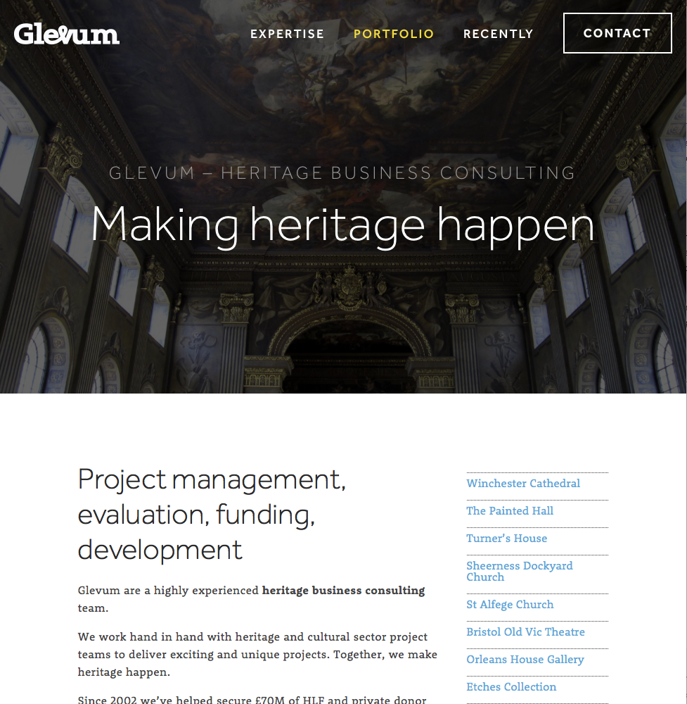 A page from the Glevum website, designed by Dotco