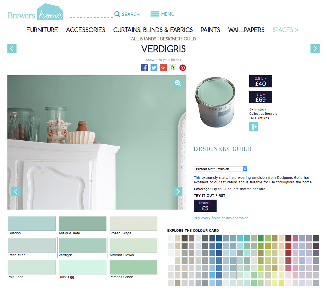 The Brewers Home Paint buying interface lets you see the paint on the wall, explore the colour chart, see the essential finish information and order a tester or add your paint to your basket in one click.