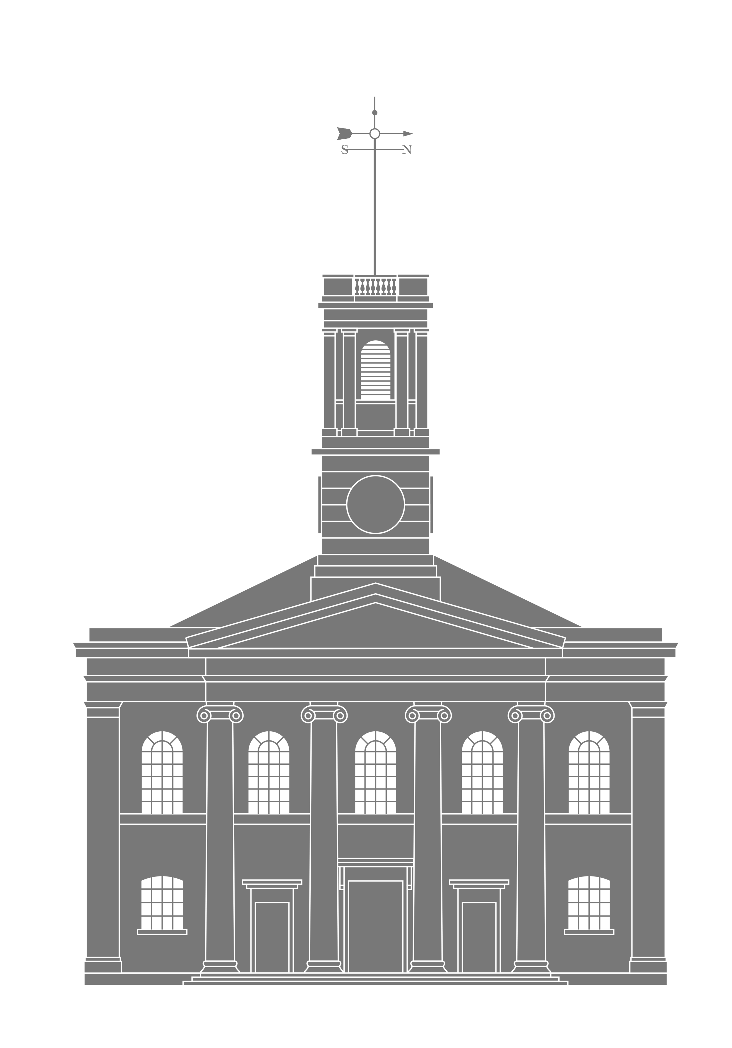 An original drawing for the front elevation was meticulously traced to create this new image, which was progressively simplified to use in the logotype.