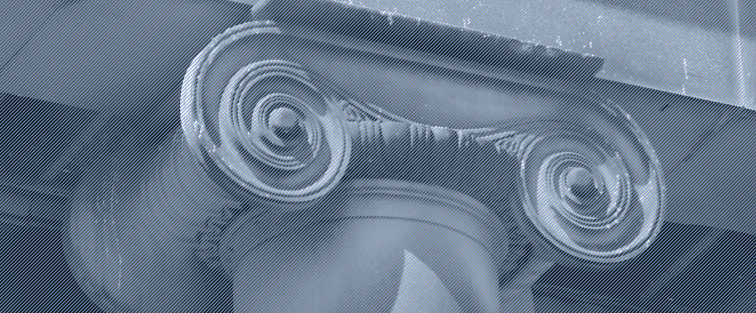 Details like this ionic capital were photographed and overlaid with a diagonal line screen focusing on the craftsmanship and evoking architectural blueprints