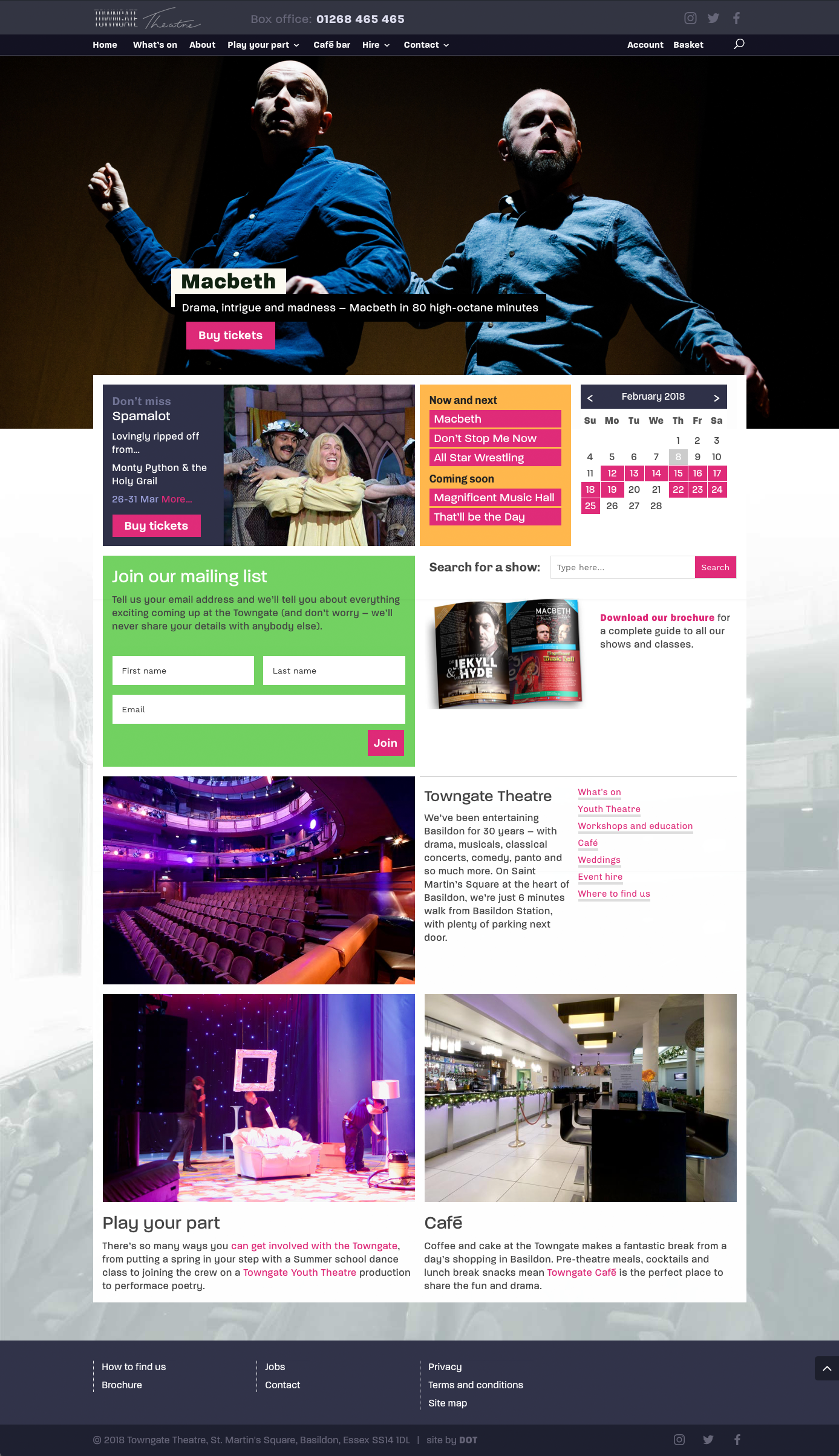 Towngate Theatre home page
