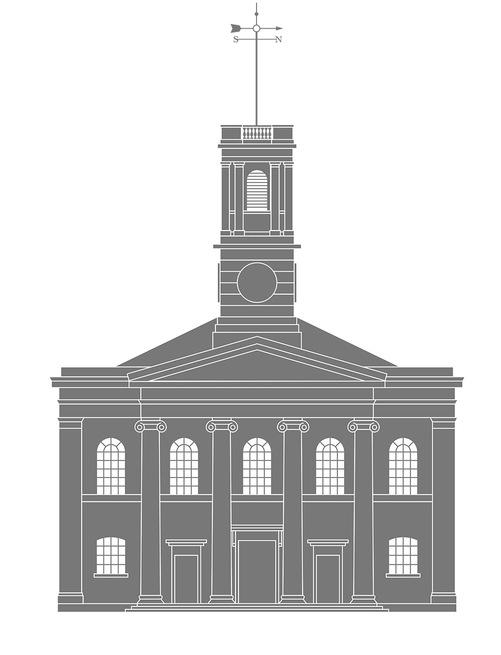 Our re-drawing of the Sheerness Dockyard Church front elevation, used extensively in their communications.