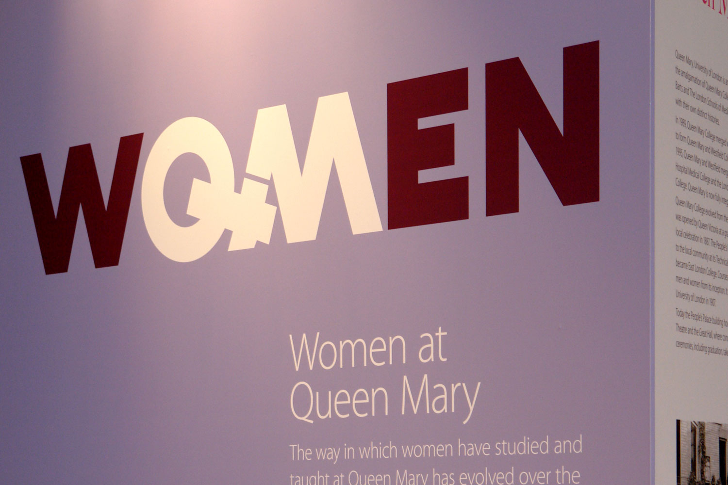 Our logo for the exhibition incorporated the Venus symbol, turning the OM in women to QM for Queen Mary