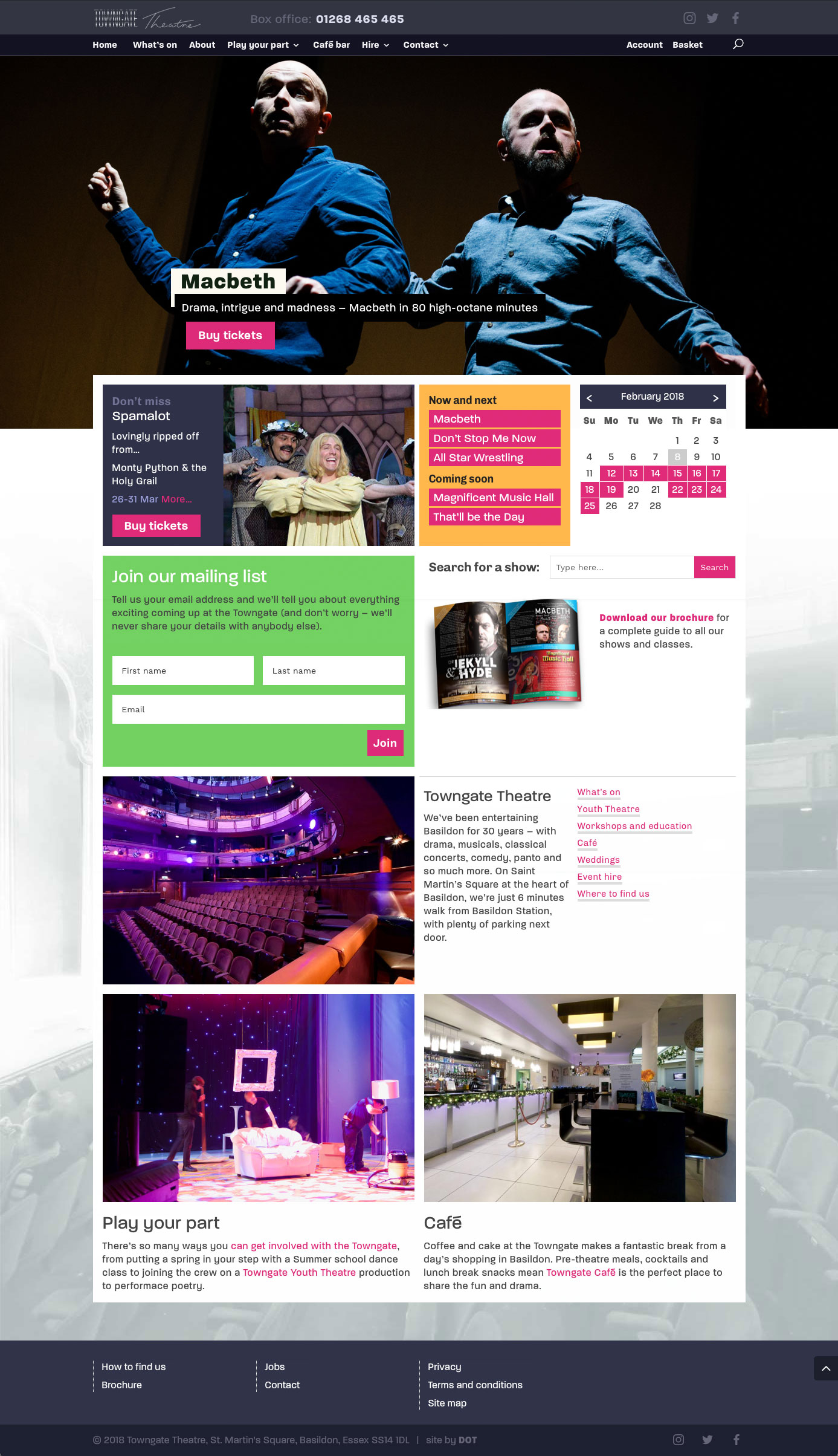 The new Towngate Theatre home page brings colour and excitement to the venue