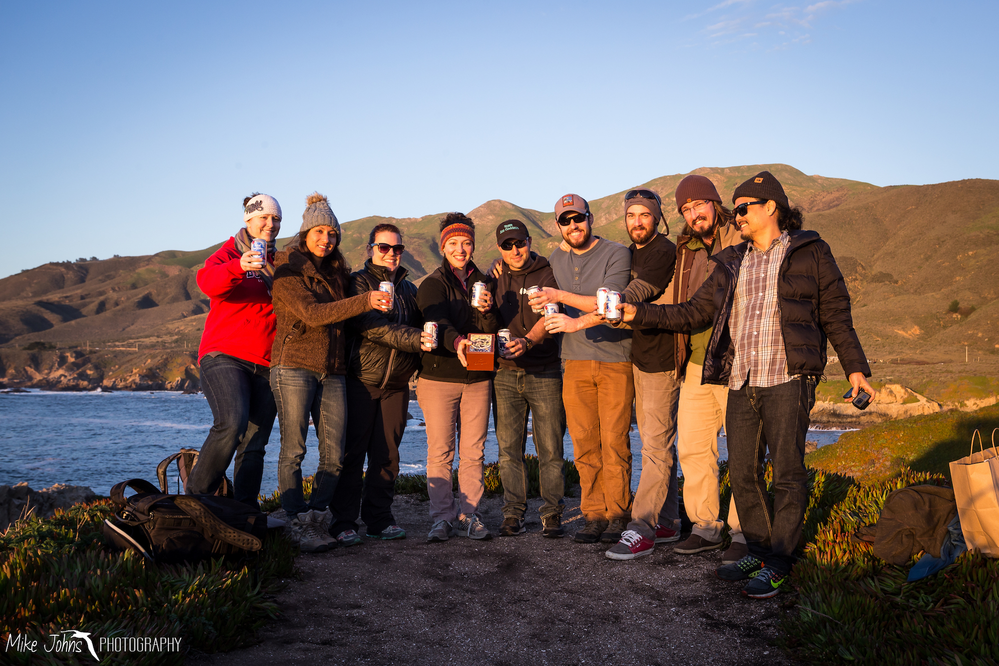 Sunset scattering of Reefer dog at Soberanes Point, Big Sur. From left to right: Denise, Lydia, Renee, Rachel, Reef (in the box), Alex, Casey, Mike, Carl, Louie.