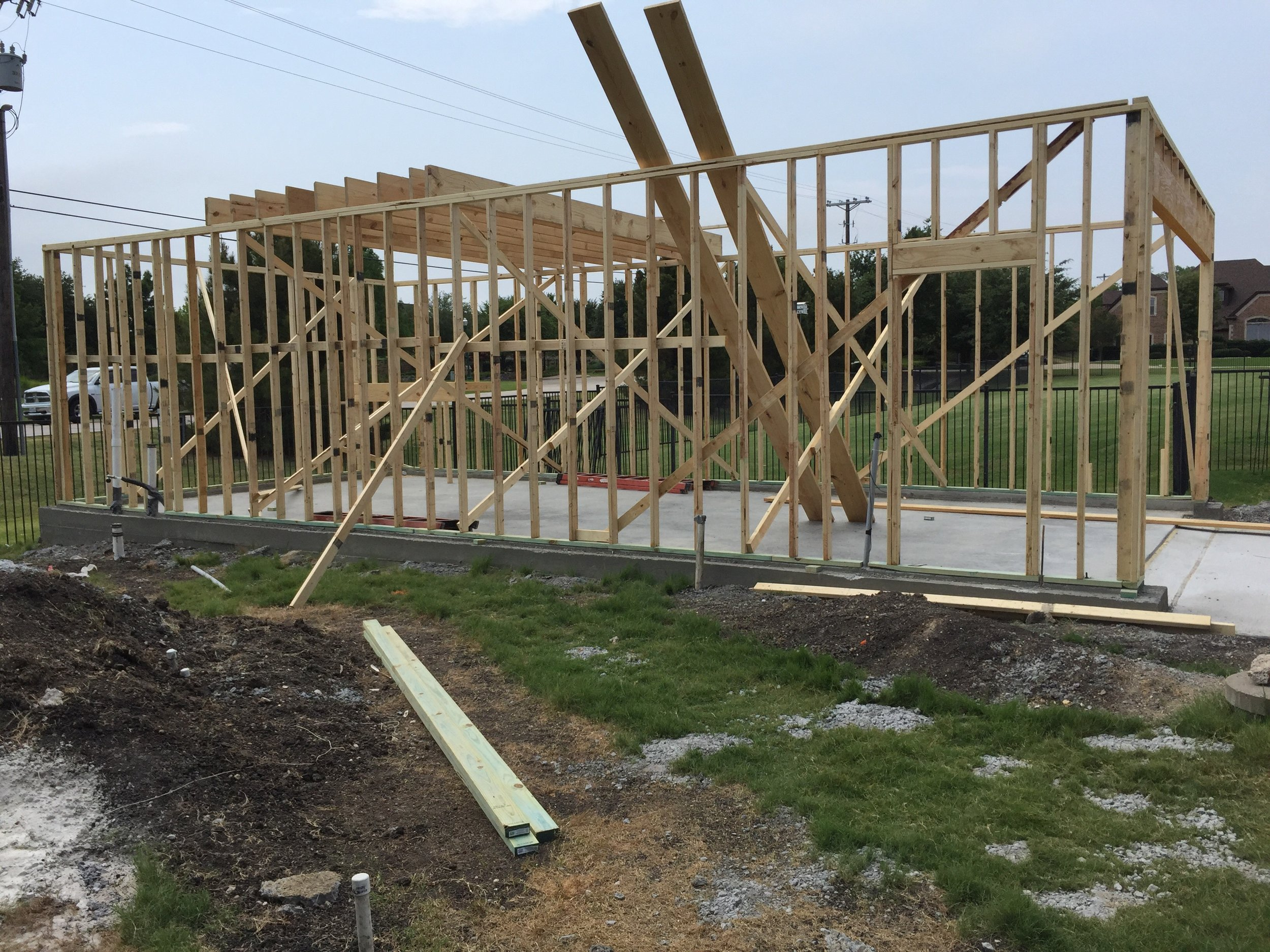 Prosper Detached Garage Framing Start