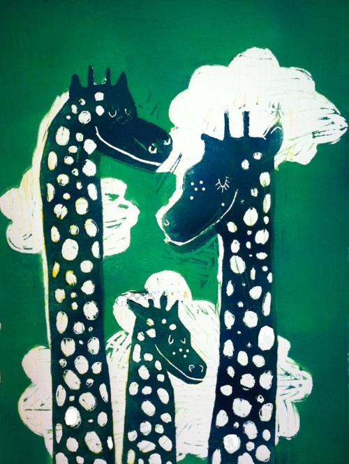 Swiss Giraffess, Linocut