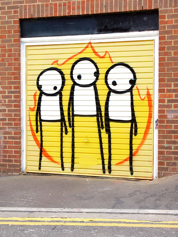 Children of Fire    2012    200cm X 200cm    Spraypaint on metal garage door   Painted in response to the Hackney Riots. Originally located on Pogo Café, Clarence Road, Hackney, London  100% of money raised went to Pogo Café and Social Centre, a non-profit, volunteer-run vegan café and social centre.  - SOLD
