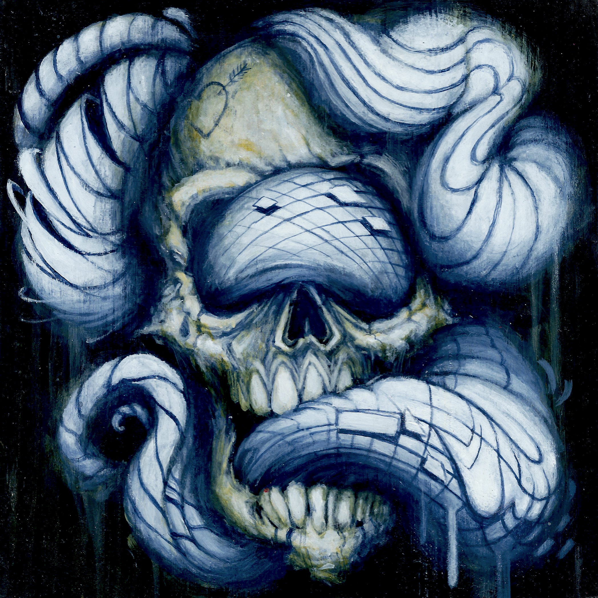 Ian C. Hess Skull and Tones Acrylic on Wood 7in. x 7in. SOLD 2016.jpg