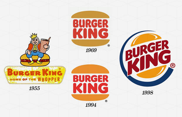 "Year Company Founded:  1954   Year Logo Introduced:  1954   Logo Designer:  Sterling Brands (1998)   Company Founders:  James McLamore, David R. Edgerton  As the second largest hamburger fast food chain in the world, the Burger King logo has developed a recognizability second only to that of the McDonald's ""Golden Arch."" Starting with a simple logotype of ""Burger King"" in 1954, the company introduced the complex logo of the Burger King character sitting atop a burger the following year. The character of the King remains in use to this day in the brand's advertising, though the logo faced a monumental evolution in 1969 with the introduction of the ""Bun Halves"" design. Now instantly recongnizable, the Bun Halves design of 1969 remains a key element in the Burger King brand image. Going through two updates in the 1990s, the ""Bun Halves"" logo of 1998 incorporated an encompassing blue ring and added dimensionality to the one still used by the brand today."