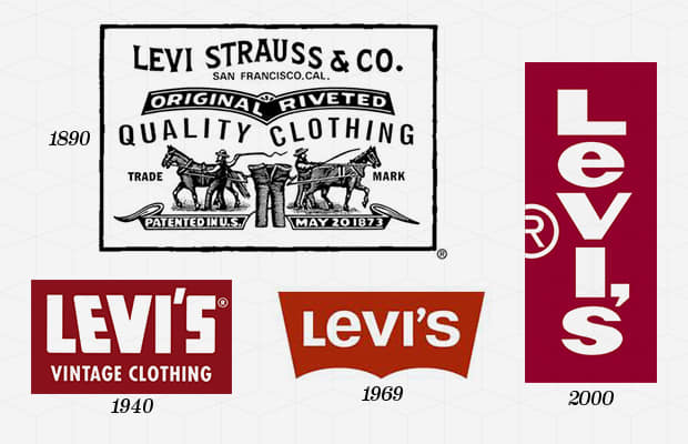 Year Company Founded:  1850   Year Logo Introduced:  1890's   Logo Designer:  Landor Associates (1967, 1969)   Company Founder:  Levi Strauss  The Levi's logo today exists in two forms: the simple white logotype on a red background and the Two Horses logo, which dates back to the foundation of the company in 1886. The Two Horses logo is, to this day, used on the patches of Levi's jeans, in its original form, which was supposed to demonstrate the strength of Levi's jeans. However, the now equally iconic red label of Levi's came to be only in 1936, when the brand tried to distinguish their jeans. In 1967, Levi's introduced the Batwing logo, which was designed by Walter Landor & Associates, and has, over the years, become symbolic of the brand itself. 2011, Levi's removed the white brand name from the red logo of their Curve ID line.