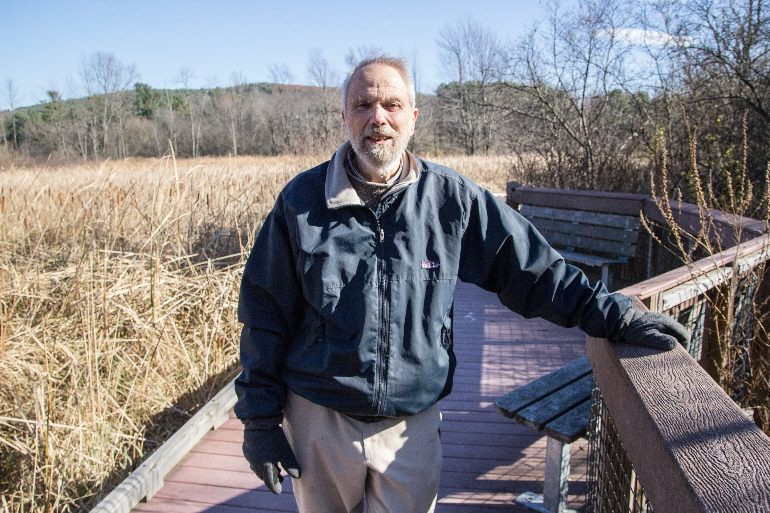 Warren King on the boardwalk at Otter View Park in Middlebury, VT. Photo by Dorothy Weicker.