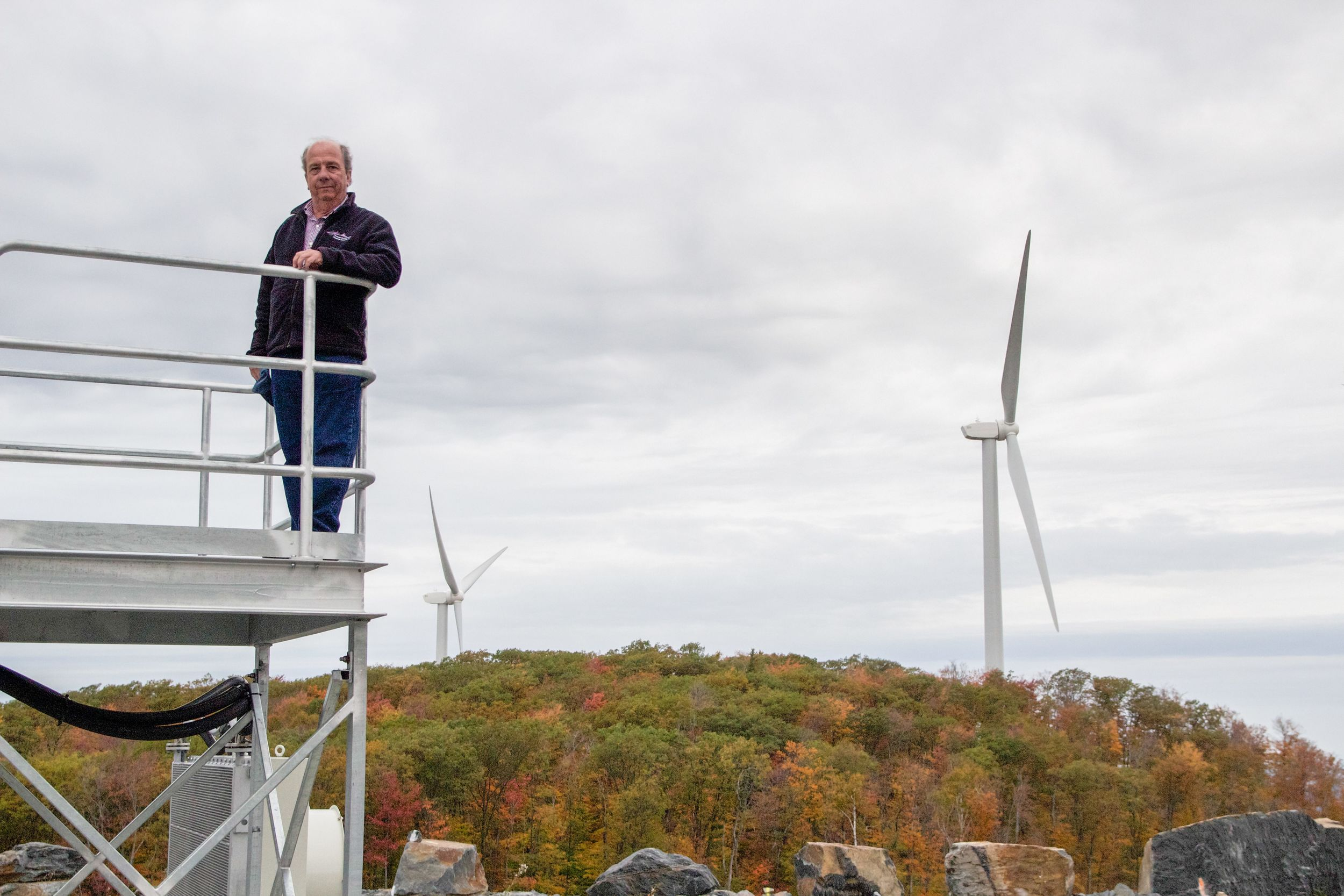 John Zimmerman at the Milton and Georgia Vermont wind farm—a 10 megawatt, four turbine, generation project that was placed in service in December of 2012 and has since become the highest performing wind farm in Vermont. Photo by Dorothy Weicker.