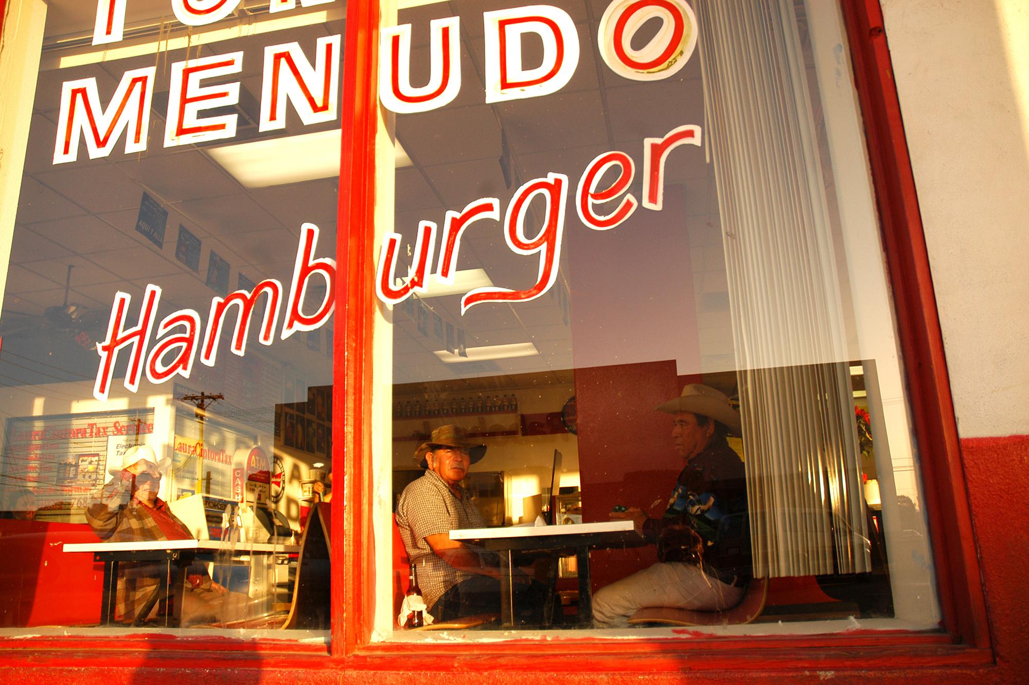 A restaurant in Calexico, California, a block from the border.