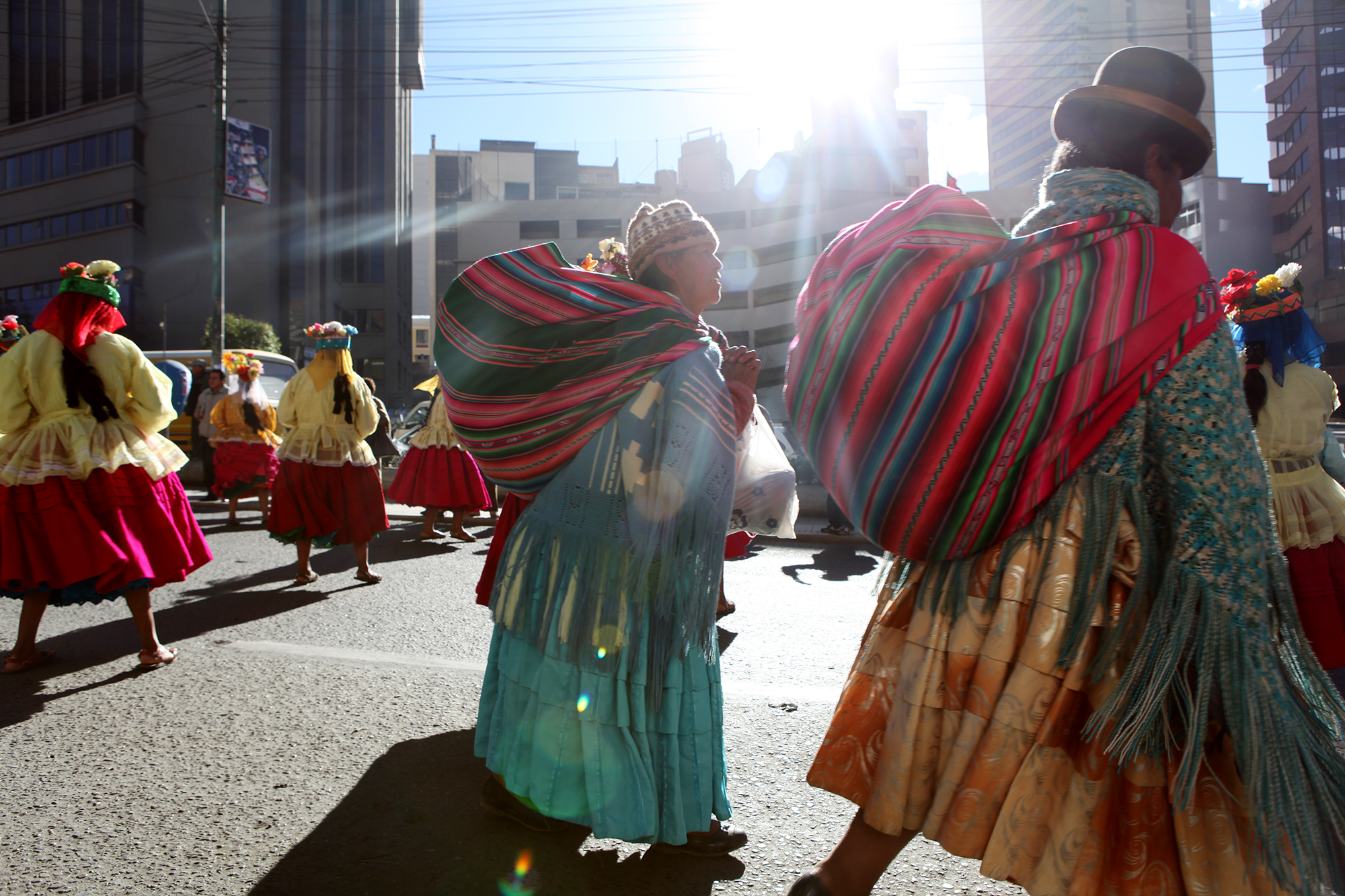Part parade, part daily life in La Paz, Bolivia.
