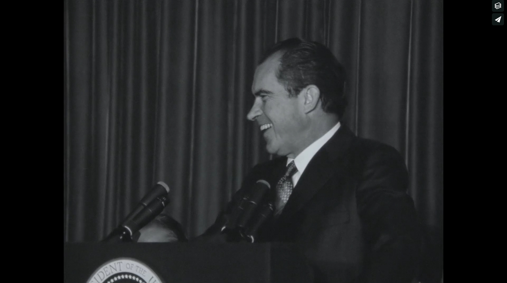 NIXON SPEAKS AT THE BURLINGTON AIRPORT   President Nixon visits Burlington Vermont Airport, October 17, 1970. 16mm footage, B&W, some audio, some silent, Reel 2 of 2     Click the image to view
