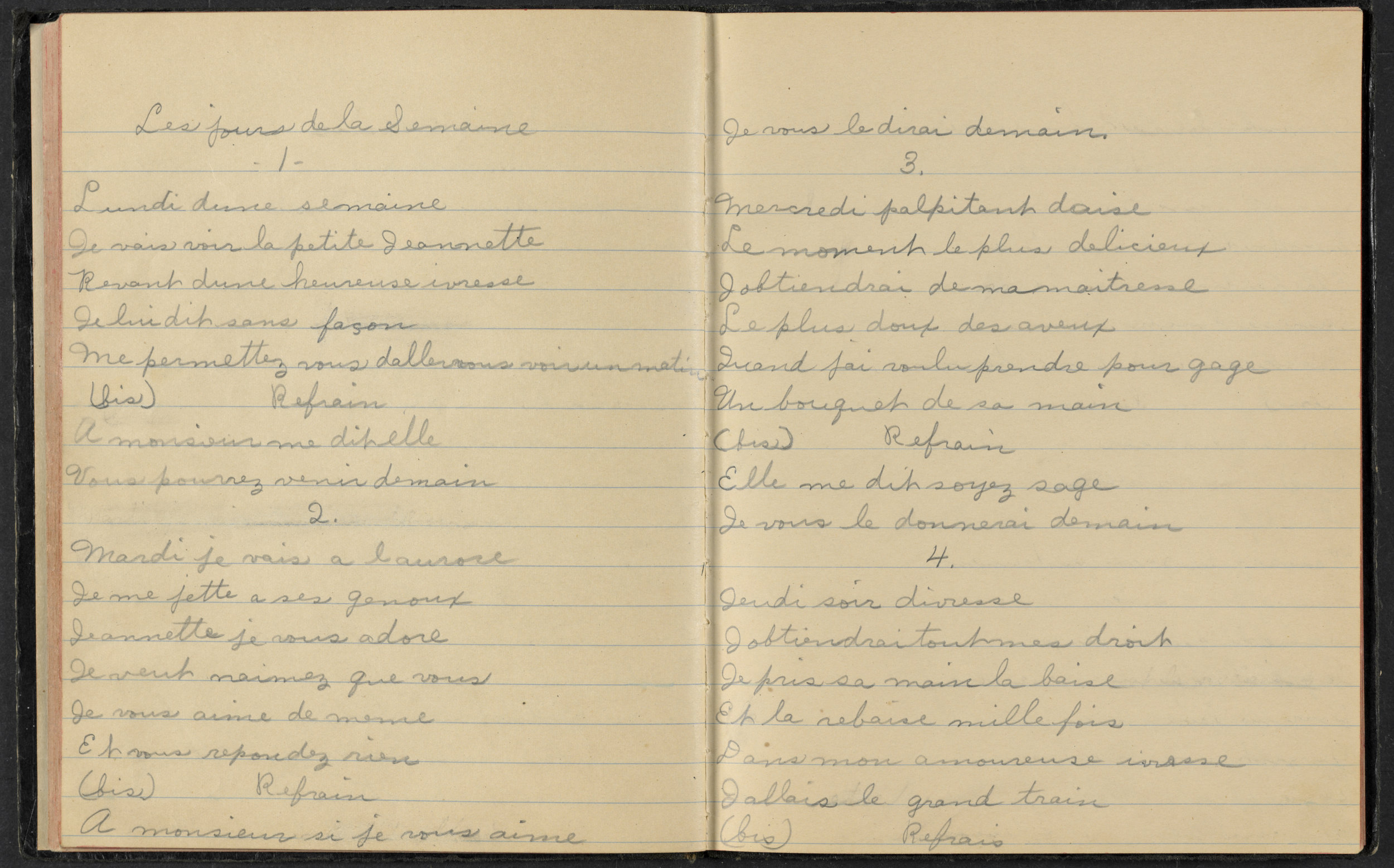 Song book manuscript from the Beaudoin Family Collection, Vermont Folklife Center Archive.