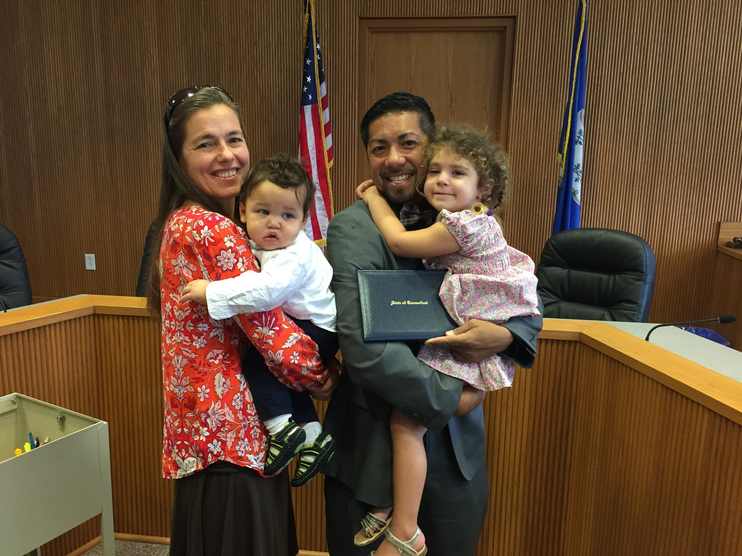 Heather, Aidan Orlando (nine and a half months), Julius, and Ava Constance (3 year ).