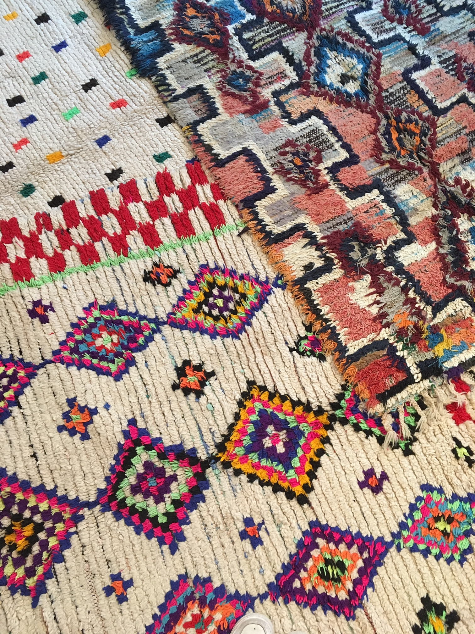 Azilal rugs from the 50% sale. Most of these electric colored beauties have sold but we do have a few exceptional ones left.