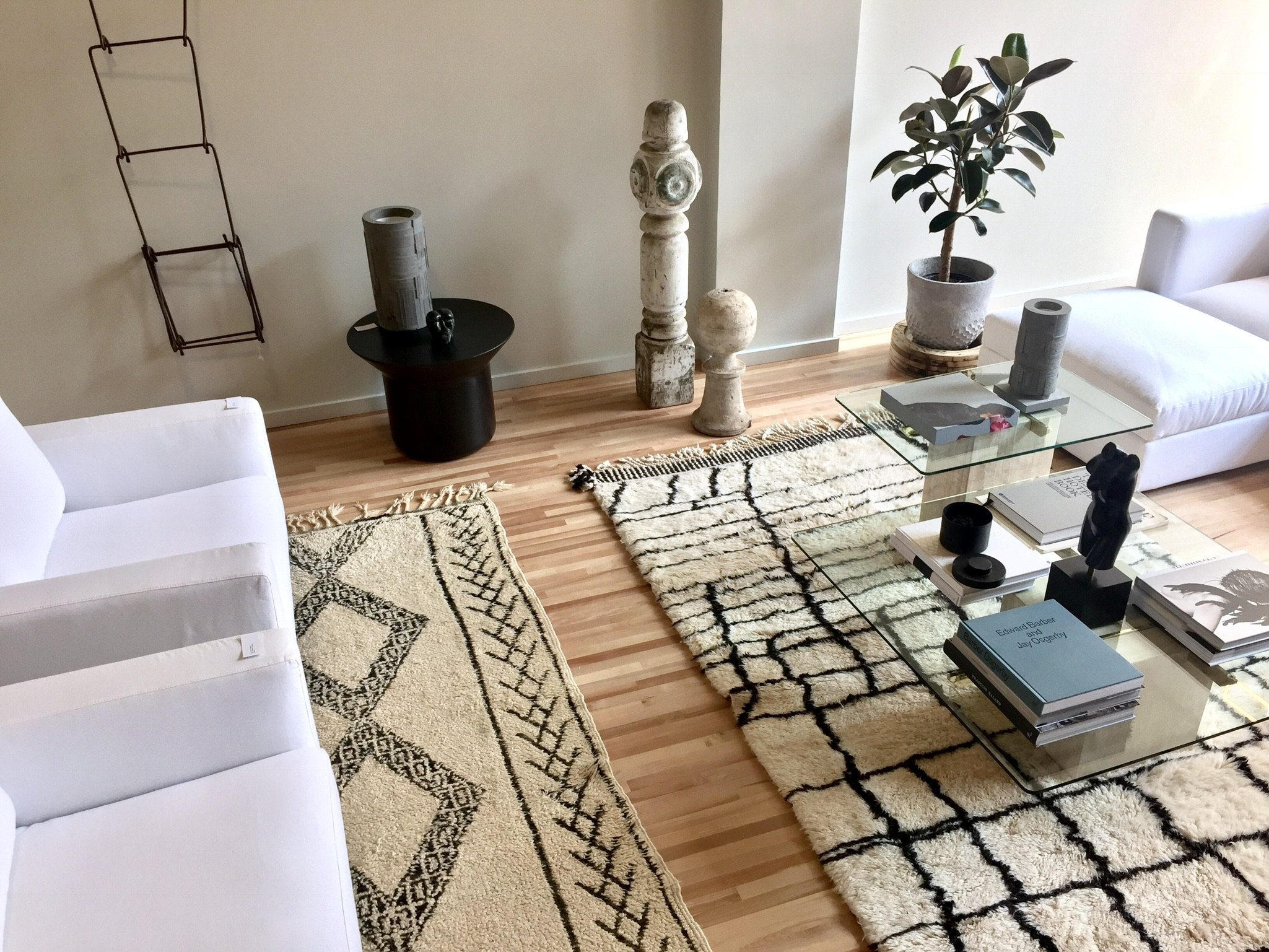 Moroccan rugs, old and new, adorn this beautiful space at 395 Notre-Dame West in Old Montreal