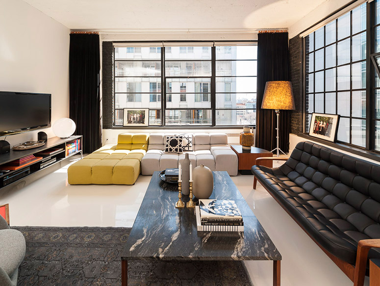 The interior of a Creative Flat. Stunning! Very chic furnished rentals in Montreal, Canada.