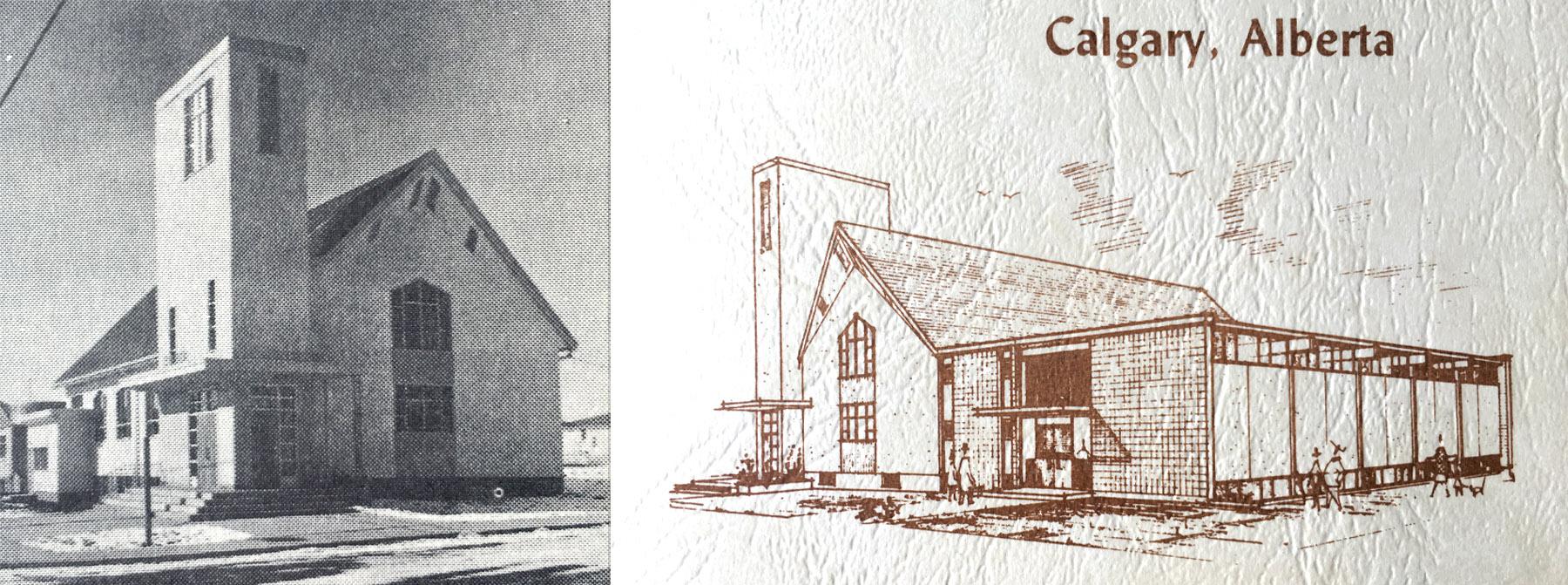 Original Kensington building 1955 alongside architectural drawing for proposed expansion 1962