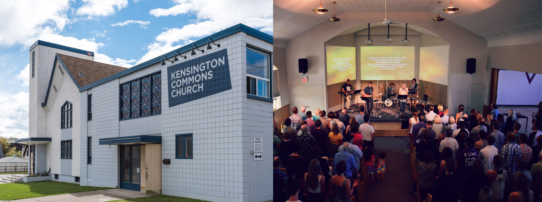 The Kensington Building today alongside a shot from the opening Sunday of Commons Church Sept 7, 2014