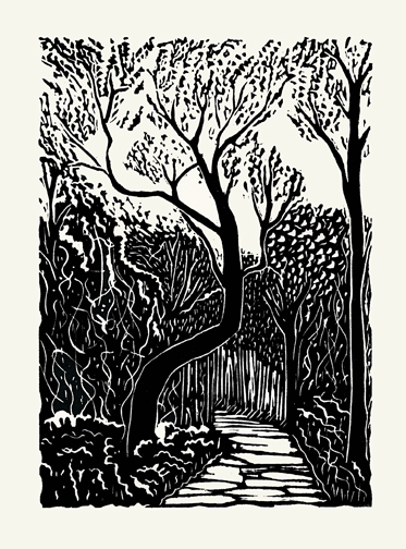 """Marker Tree 2015, linoleum print inspired by trail marker trees that were intentionally shaped by Native Americans. This one is on a road on Sugar Island, Michigan, printed on rice paper. 20 copies.7"""" x 5""""."""
