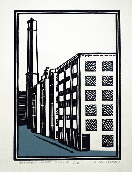 """Wormwood Street 2015, 2 color linoleum print on rice paper. This is an image of my studio building in Boston. 20 copies. 7"""" x 5""""."""