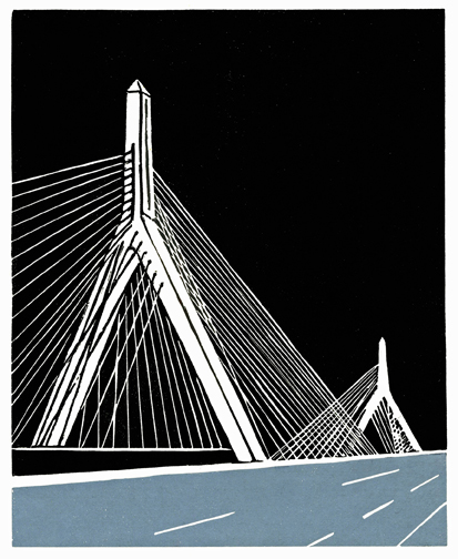 """Zakim Bridge, Boston 2 color print on rice paper. From the  Almost Home      edition.20 copies. 9"""" x 7.25"""""""