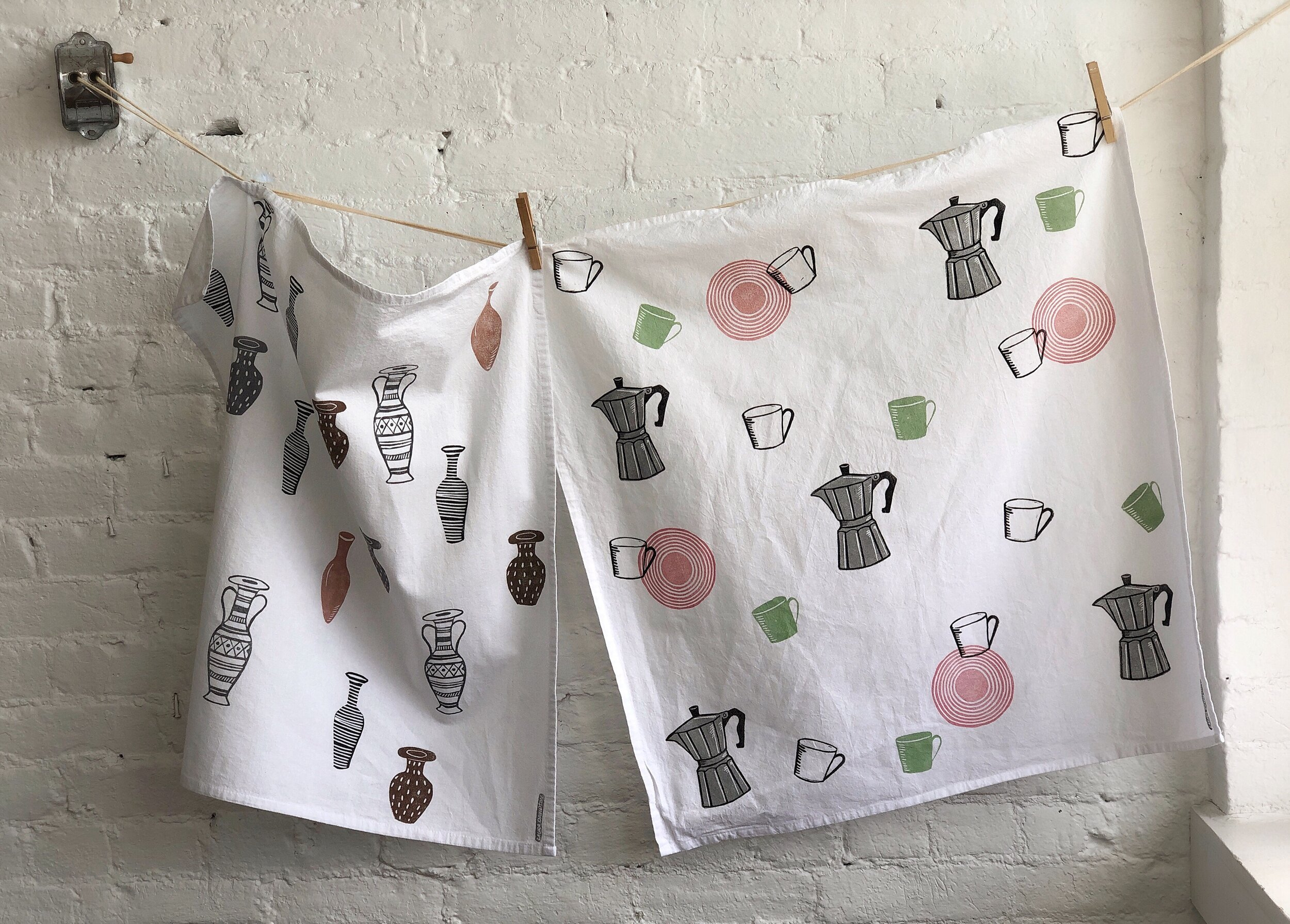 Hand printed Tea Towels , 2019 Washable fabric ink on soft cotton flour sack towels