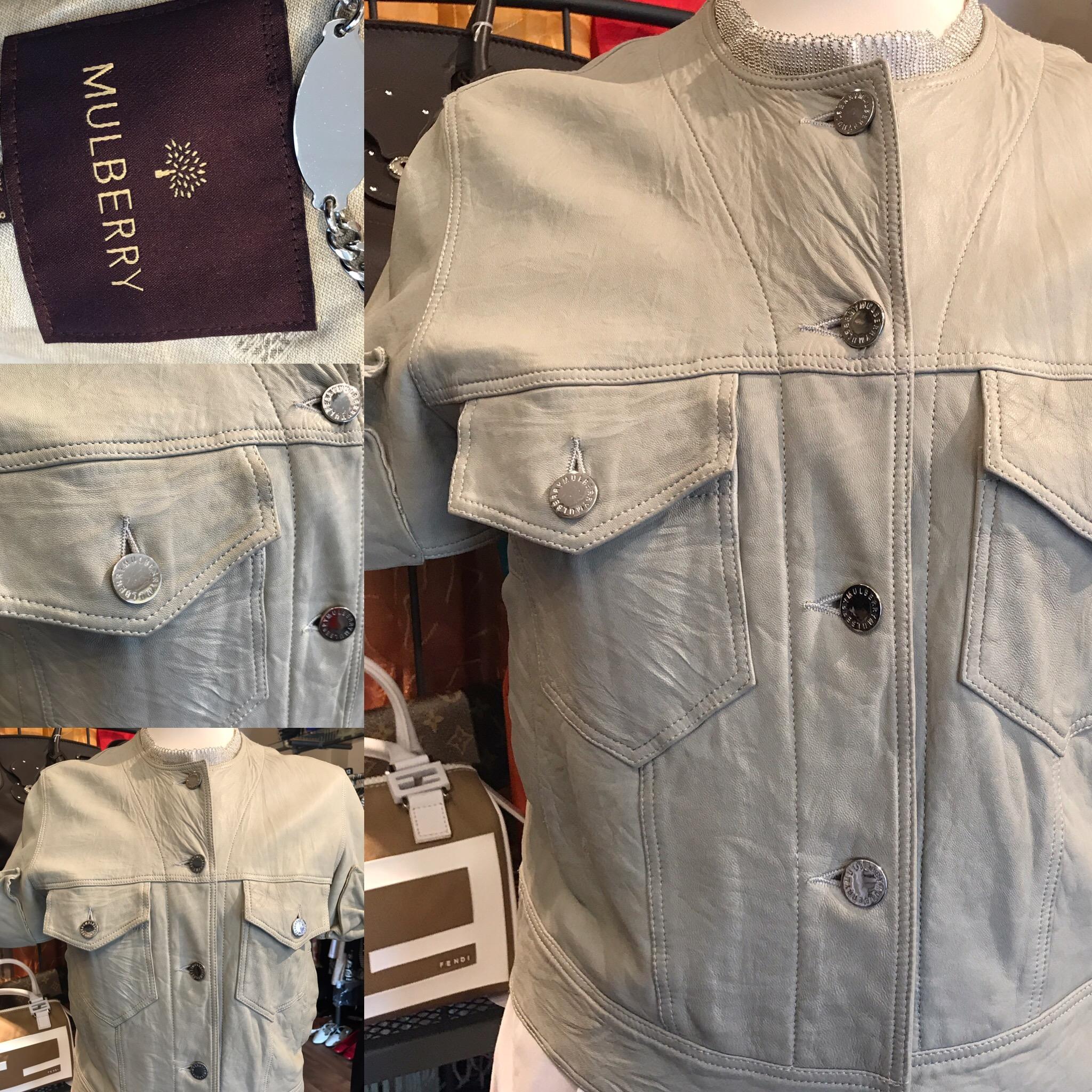 Mulberry short sleeved leather jacket. Size 10 £149.JPG
