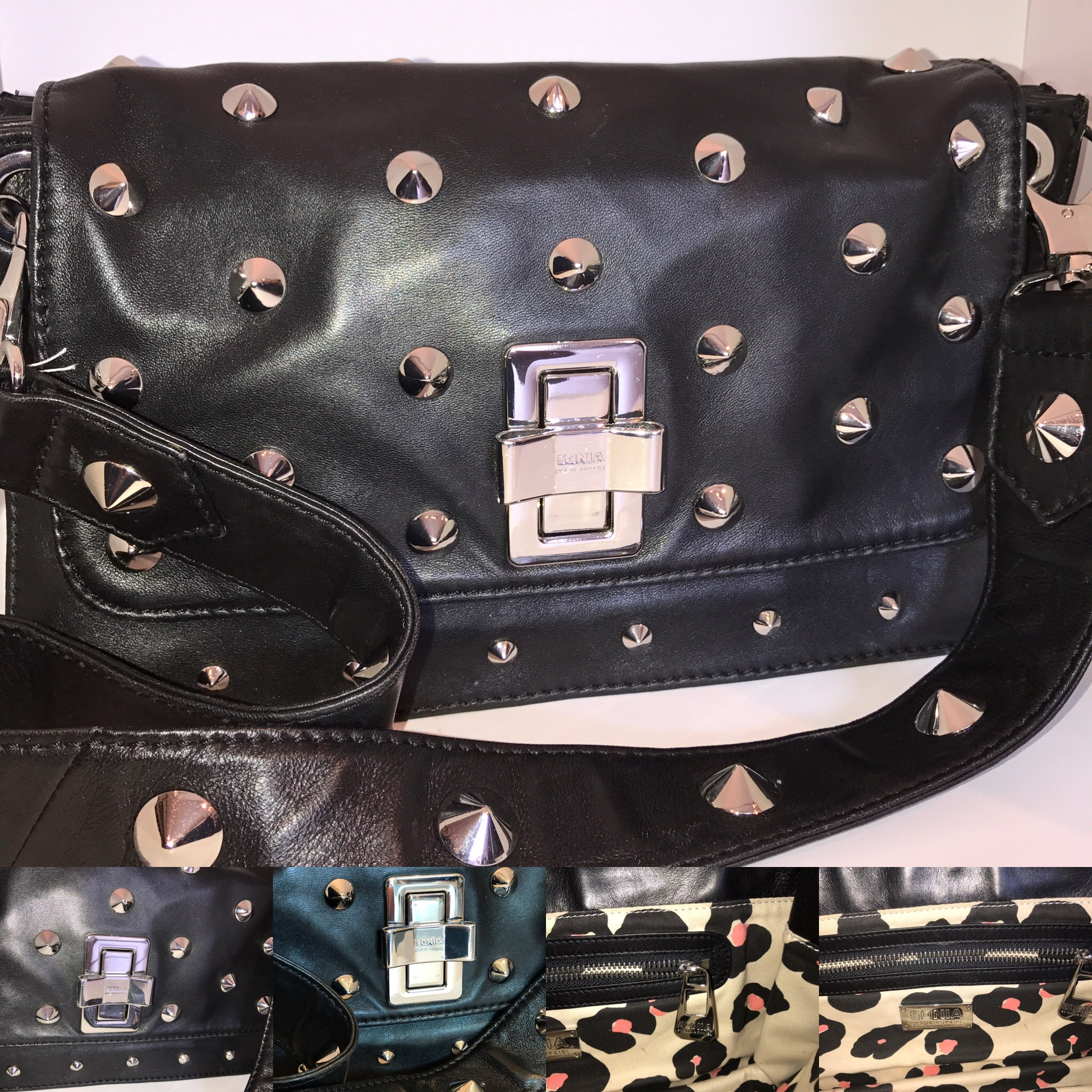 Sonia Rykiel black leather studded bag £199.JPG