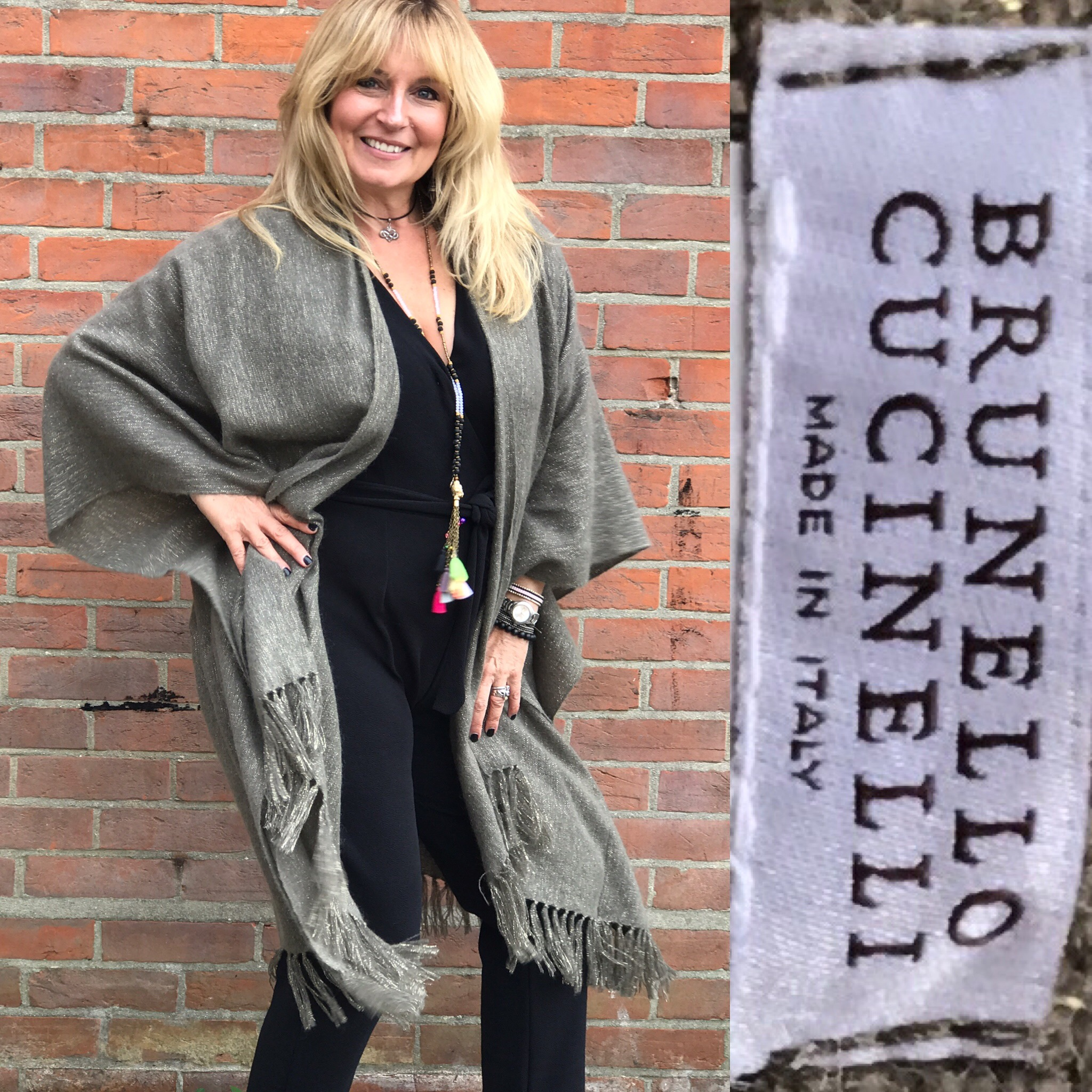 Brunello Cucinelli cape shawl taupe cashmere with slight hitter and sleeves £299.JPG