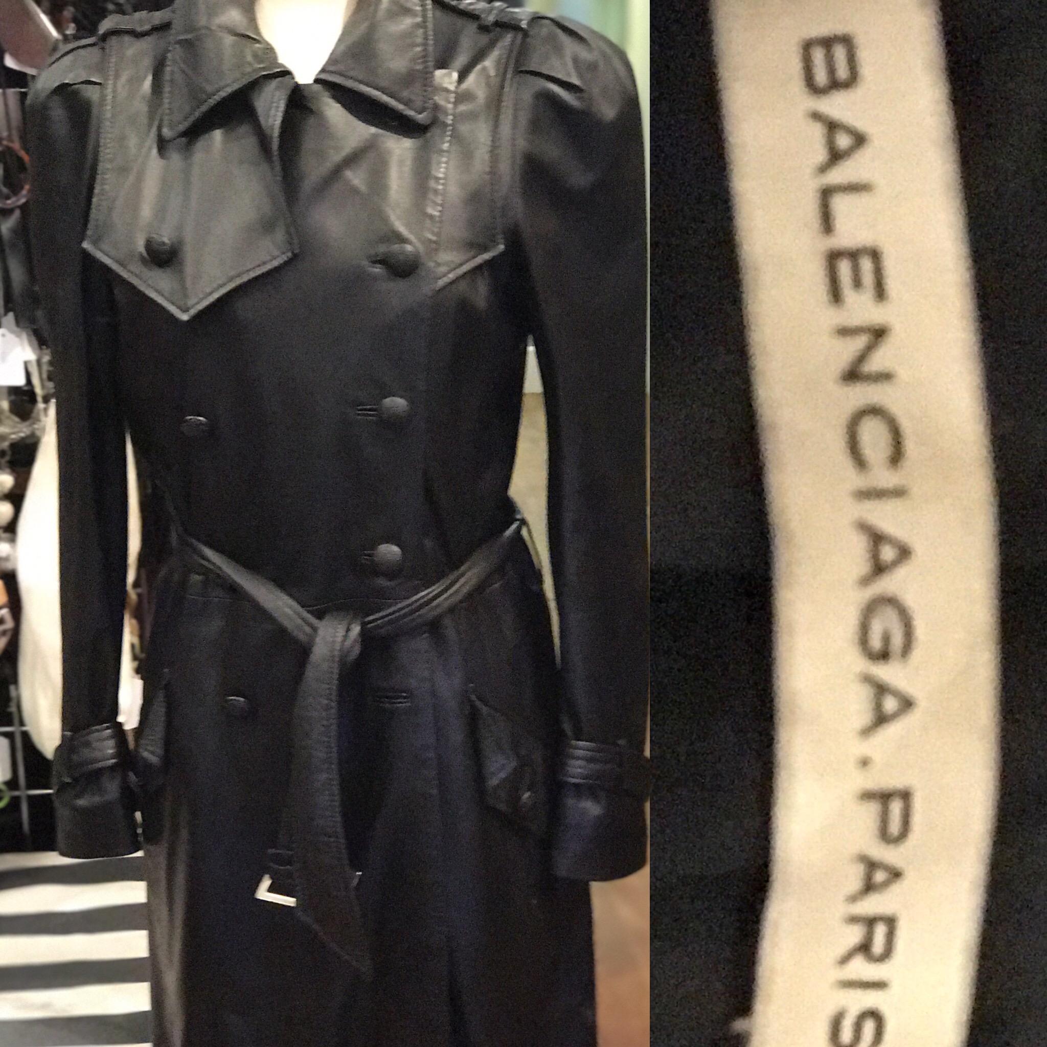 Balenciaga soft leather trench coat size 10 £299.JPG