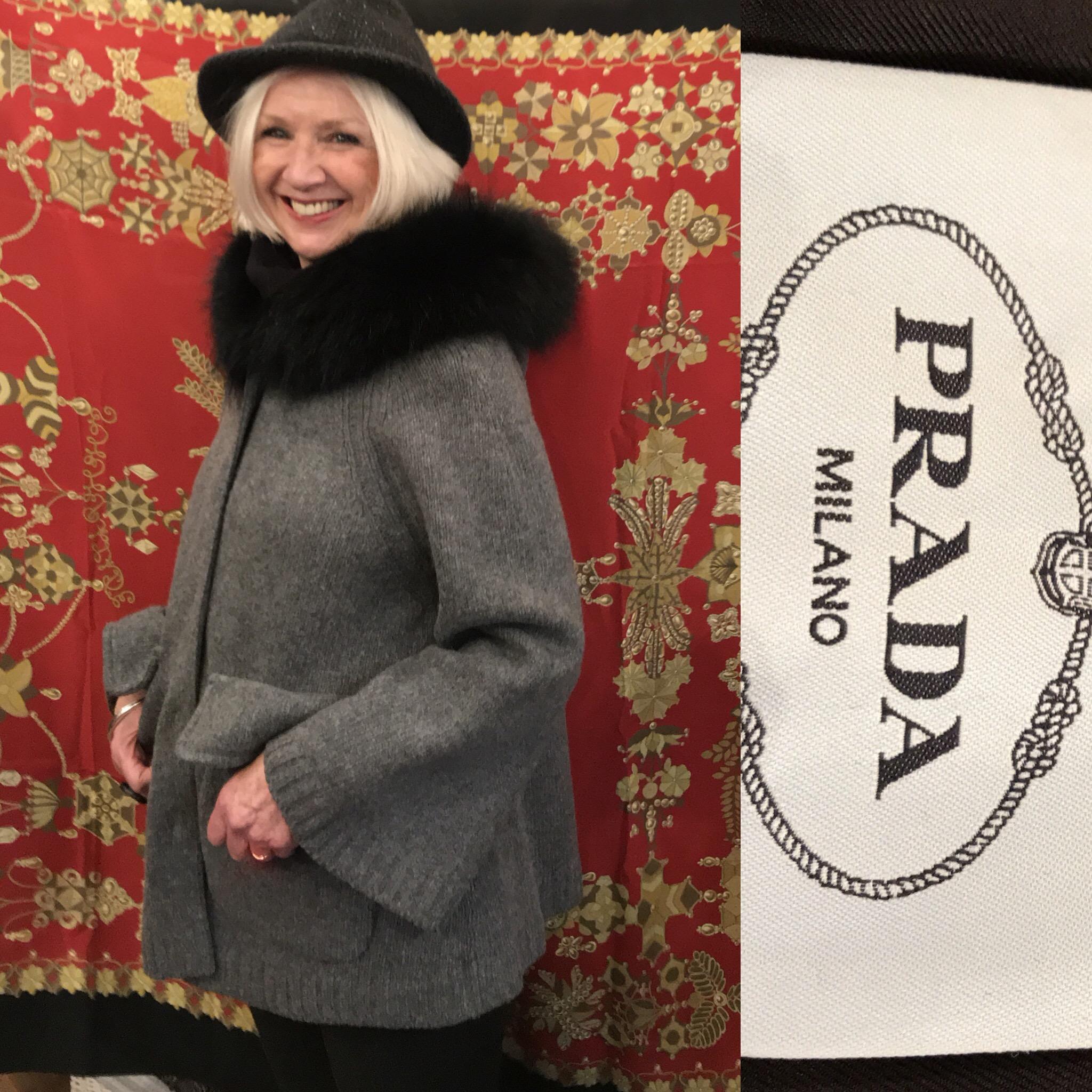 Prada grey wool jacket with furry collar size 12 £299.JPG