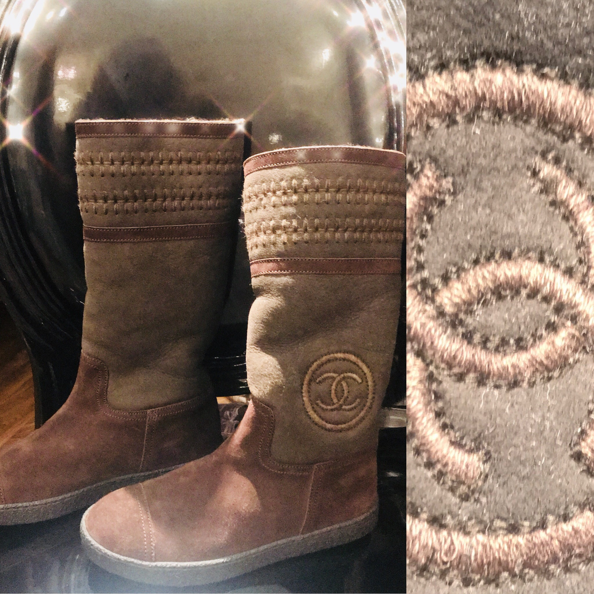 Chanel Brown soft suede boots size 36.5 £299.JPG