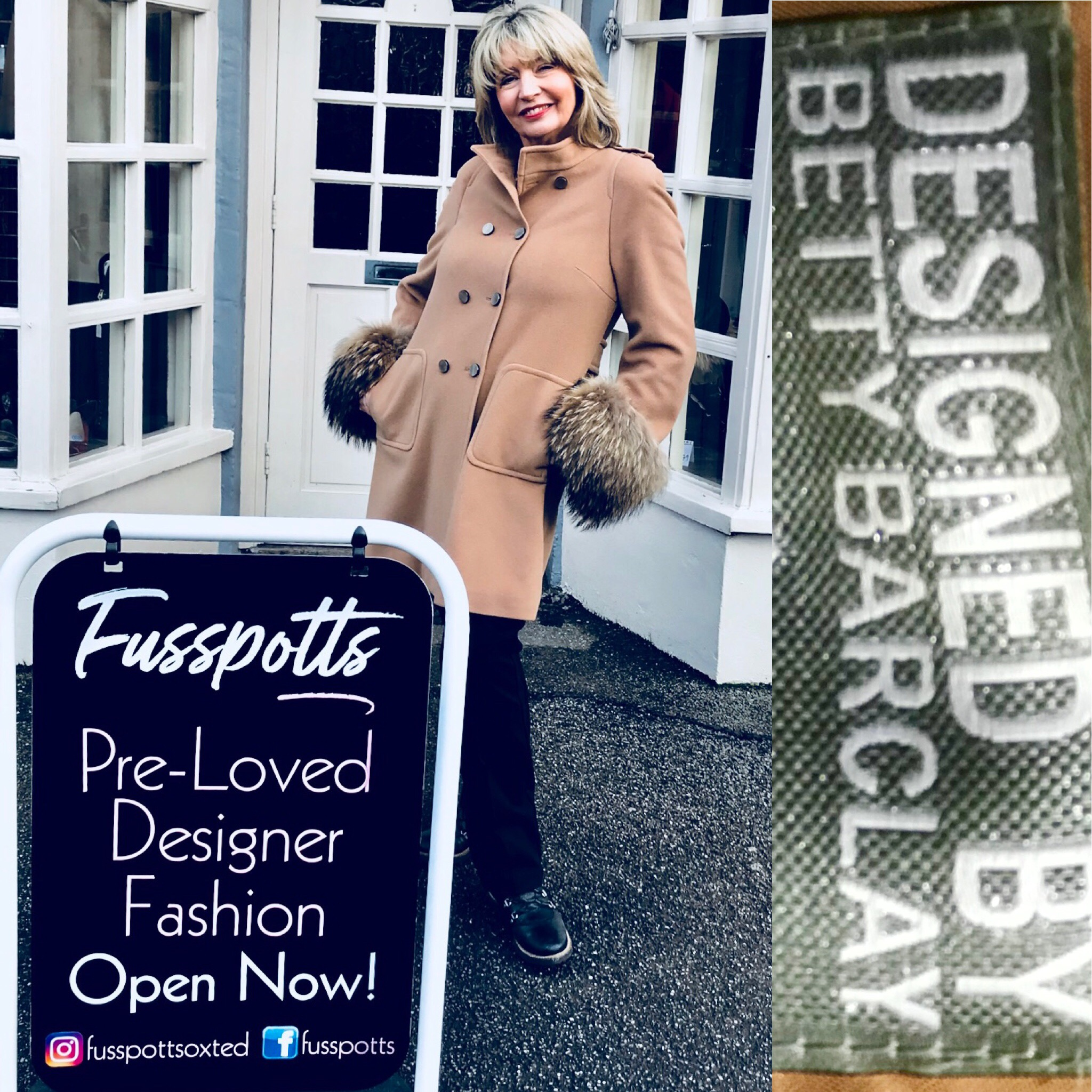 Betty Barclay camel coat with furry sleeves   Size 16 £299.JPG