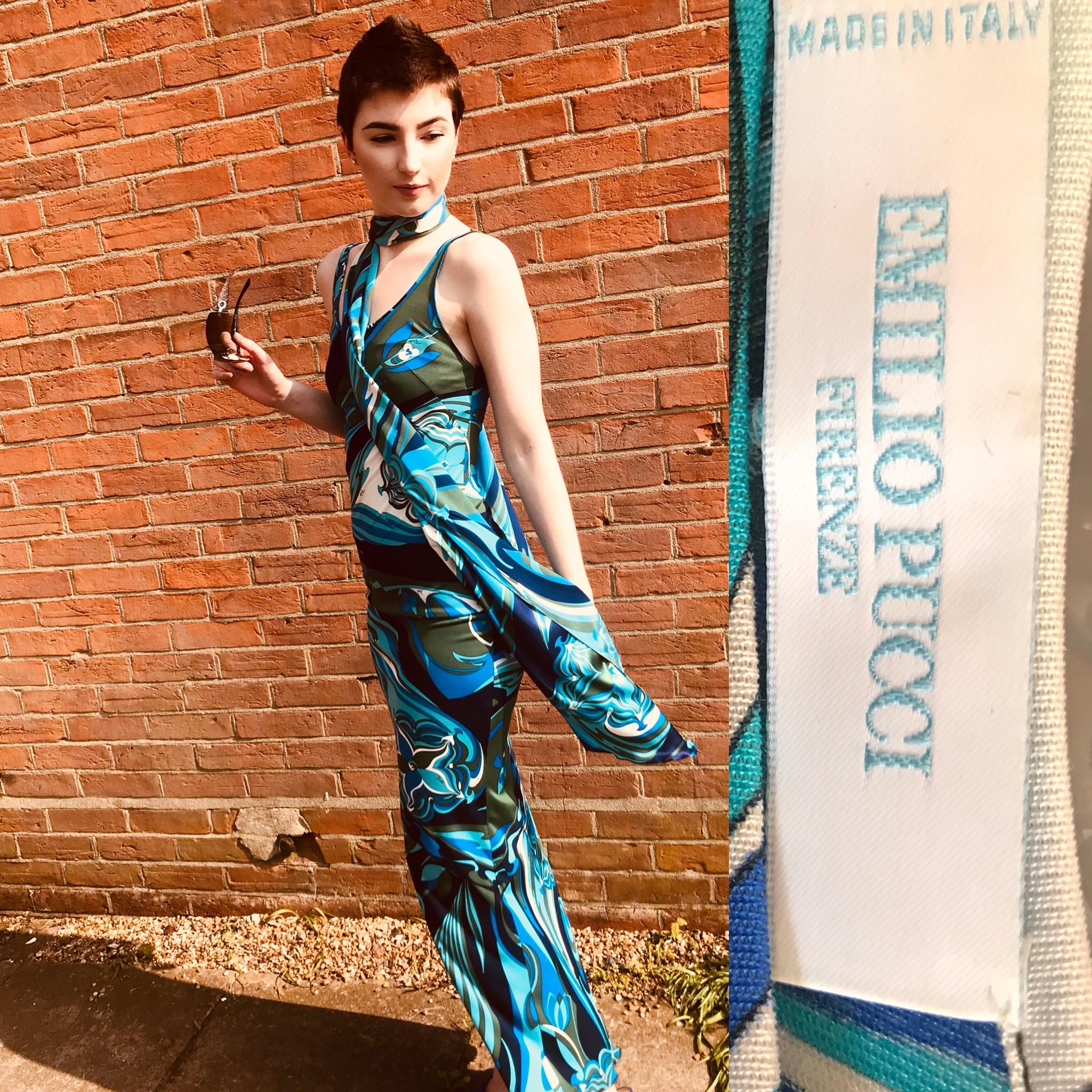Emilio Pucci size 8 long blue dress £199 .JPG