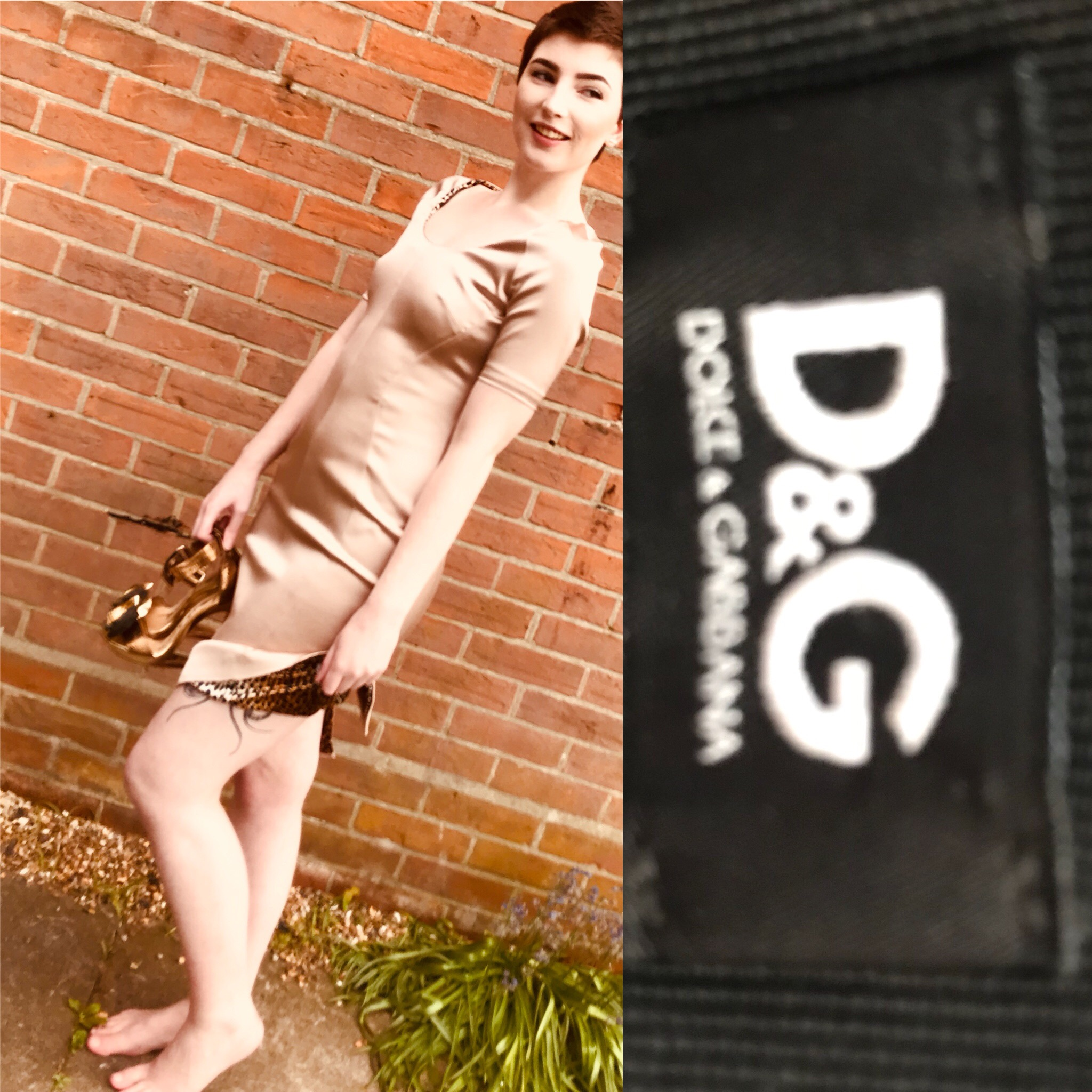 D&G dress in gold size 8 £199.JPG