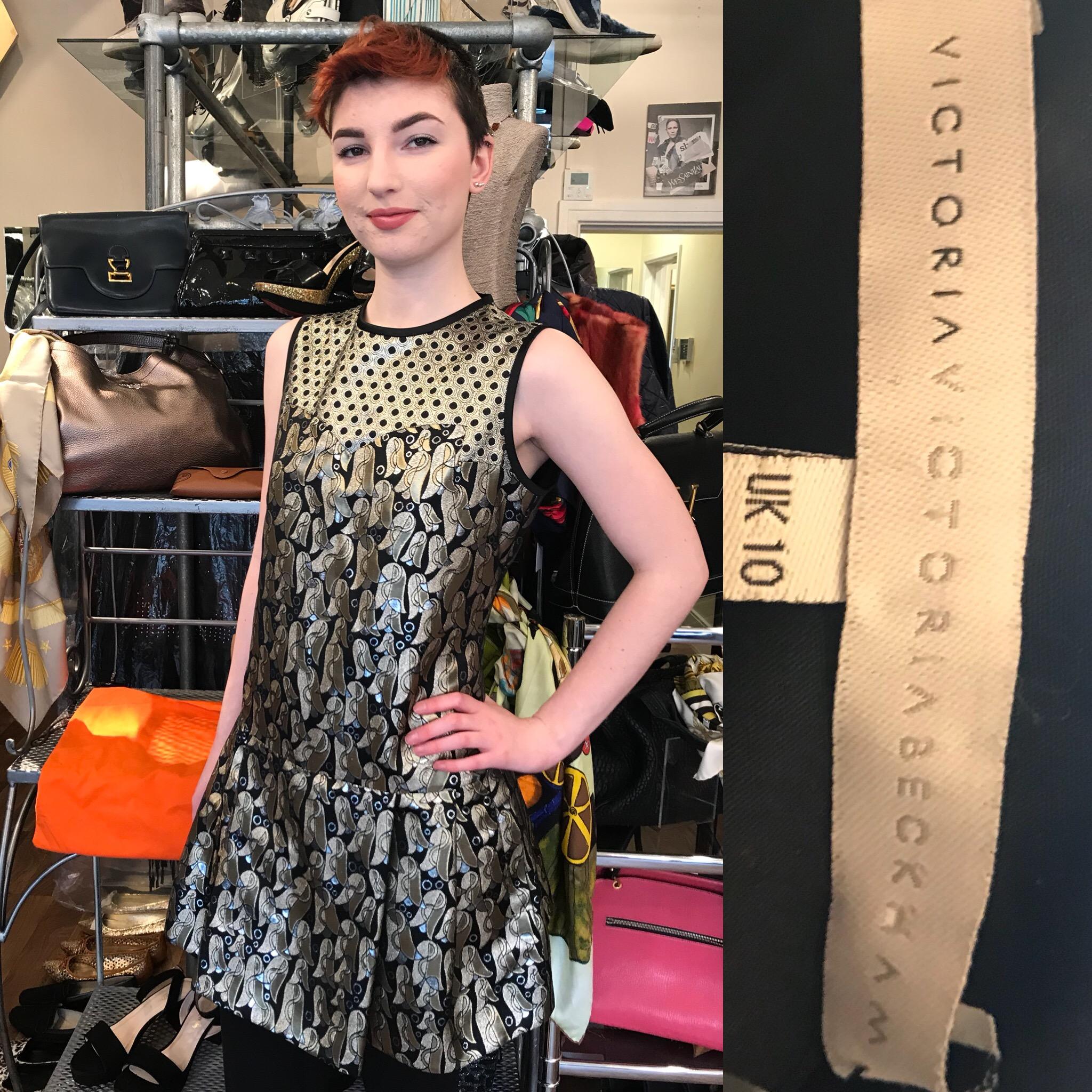 Victoria Beckam bronze dress size 12. £299.JPG