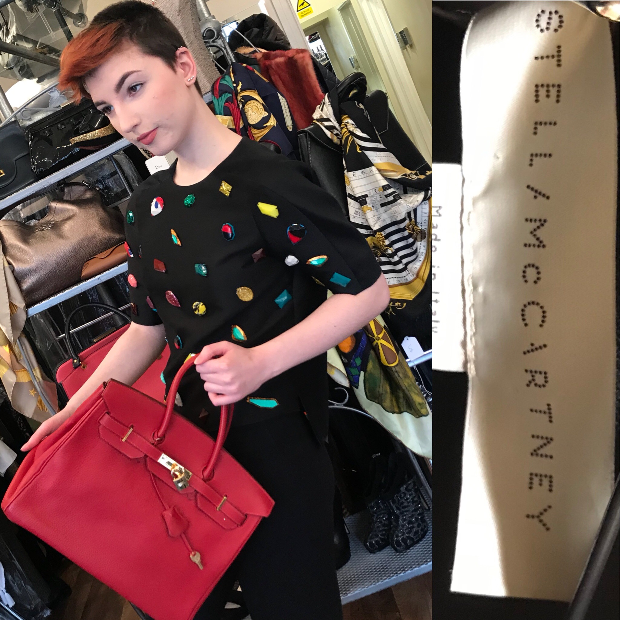 Stella McCartney top size 12 £199 and Hermes bag (enquire within for price).JPG