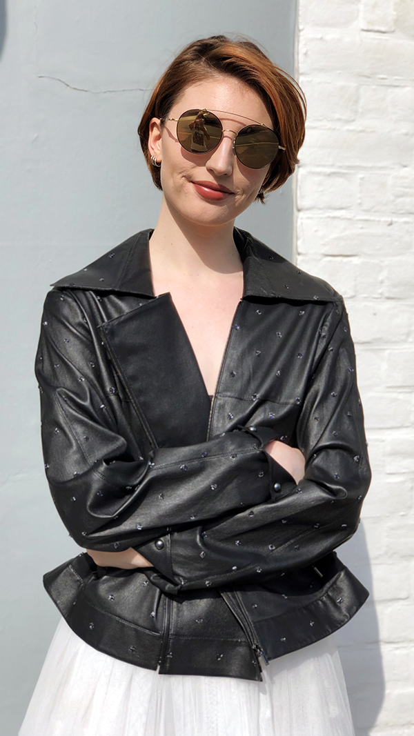 Chanel - Black leather jacket. Size 16. £1500.