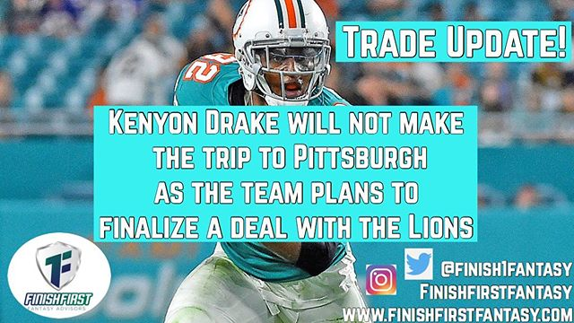 Kenyon Drake 🚨Update 🚨! Drake will not make the trip to Pittsburgh for Monday night Football due to a pending trade with the Lions. #nfl #worldseries #fantasyfootball #mondaynightfootball #nflmemes #lions #miamidolphins #dolphins #pittsburgh #mondaynightfootball #fantasyfootball #instagram #instasports #insta #instapic #football #trade
