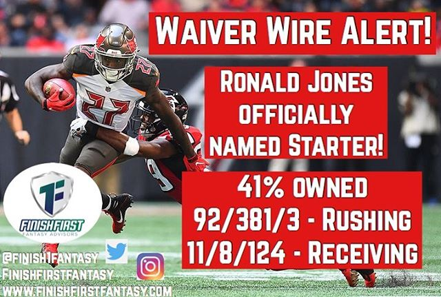 Waiver Wire 🚨 Alert 🚨! If you're in need of a starting RB check out Ronald Jones!  Named the stsrter moving forward!  #nfl #fantasyfootball #mondaynightfootball #nflnews #nflmemes #fan #waiverwire #buccaneers #instagood #instagram #insta #tuesday #rannfl