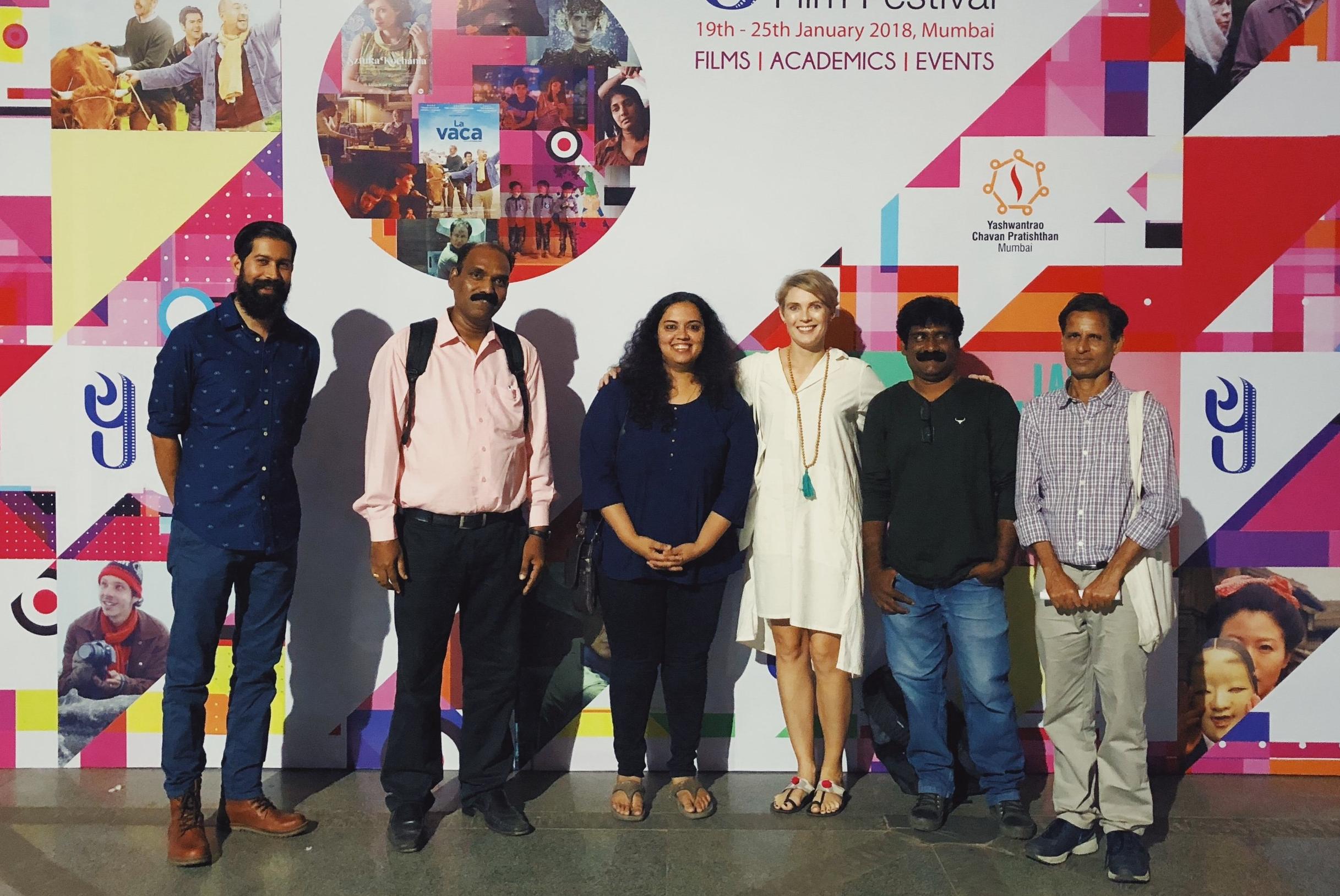 - The JUGAAD crew at our Mumbai premiere! Left to right: Composer Shane Mendonsa, taxi decorator Sameer Mistry, production coordinator/sound recordist Amrita Singh, producer/director Susannah Heath-Eves, Dharavi fixer Rajesh Prabhakar, sound recordist Santosh Gour.