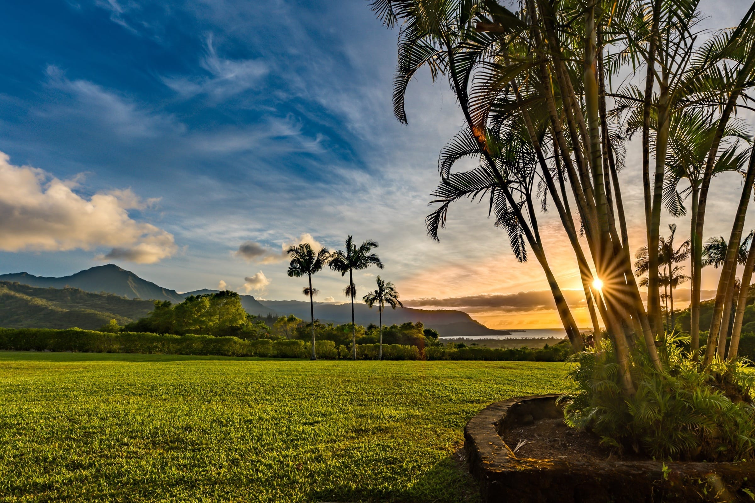 View of Hanalei Bay at Sunset