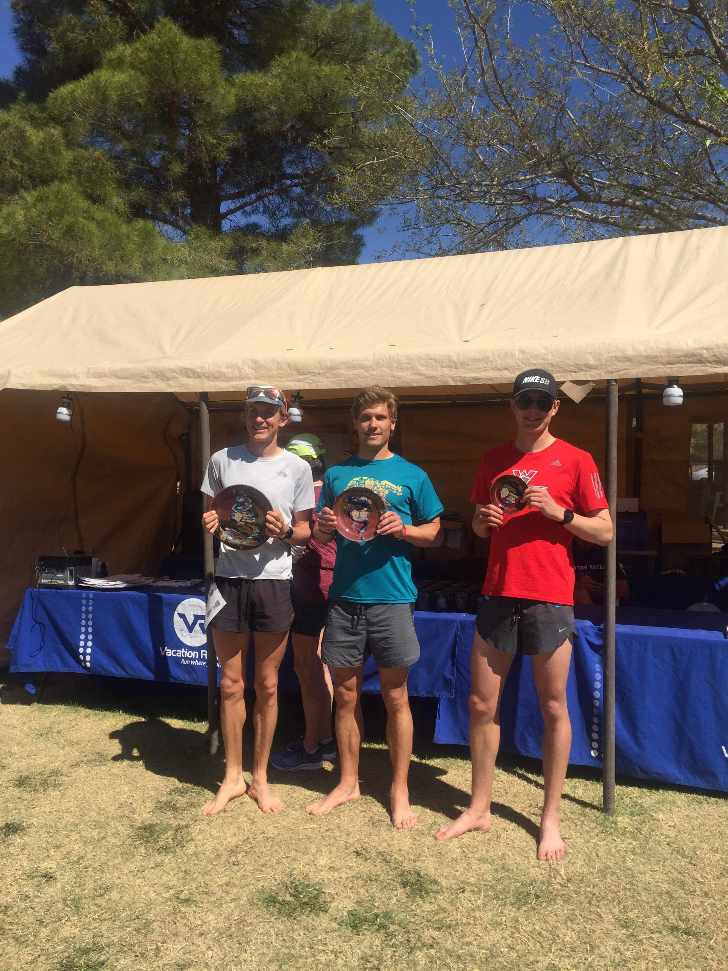 At the finish receiving our prizes for 1st, 2nd, and 3rd overall. These young bucks are fast!