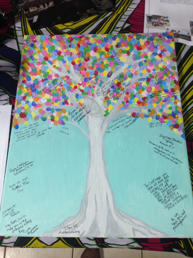 We asked that each person would write their name and a bible verse. This painting will be hung up in our house in Liberia!