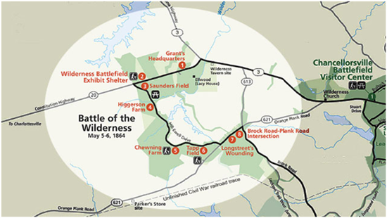 Map of Wilderness battlefield. Click to enlarge.